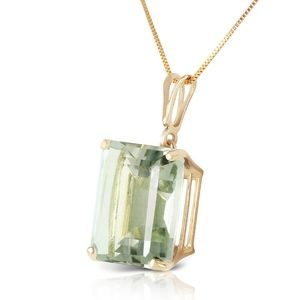 GOLD NECKLACE WITH OCTAGON GREEN AMETHYST